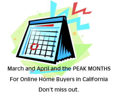 March and April Peak Online Buying - pic of calendar